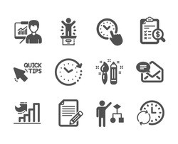 Set of Education icons, such as Time change, Accounting report, Presentation, Algorithm, Growth chart, Article, Update time, Quick tips, New mail, Winner podium, Creativity classic icons. Vector