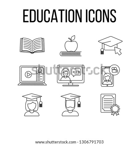Set of education icons; vector graphic symbol isolated on white. Graduation cap, online, book, laptop, computer, certificate, diploma, student, video call.