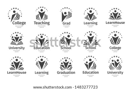 Set of Education vector icon. Open book, dictionary, textbook or notebook with human icon. Logo concept design for business, libraries, schools, universities, educational courses.