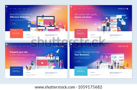 Set of effective website template designs. Modern flat design vector illustration concepts of web page design for website and mobile website development. Easy to edit and customize. stock photo