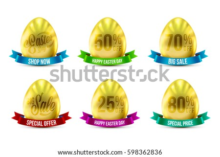 set of eggs in gold color for