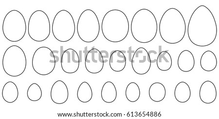 Set of eggs of different birds and reptiles, vector contours and shape of the egg for coloring for Easter