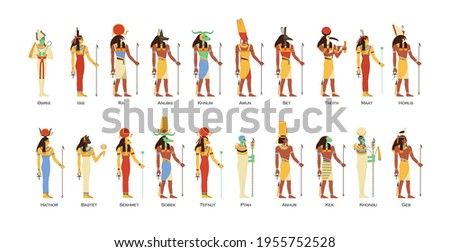 Set of Egyptian gods and goddesses. Deities of Ancient Egypt. Myth Cairo figures and statues. Colored flat vector illustration of osiris, horus, ra, sobek and thoth isolated on white background. Stock photo ©