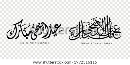 Set of Eid Adha Mubarak in Arabic calligraphy, design element on a transparent background. vector illustration