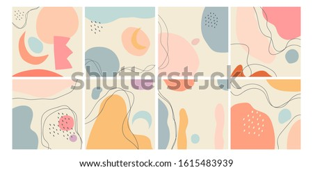 Set of eight abstract backgrounds. Hand drawn various shapes and doodle objects. Contemporary modern trendy vector illustrations. Every background is isolated. Pastel colors stock photo