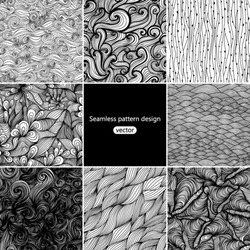 Set of eight  black and white wave patterns (seamlessly tiling). Adult Coloring pages.