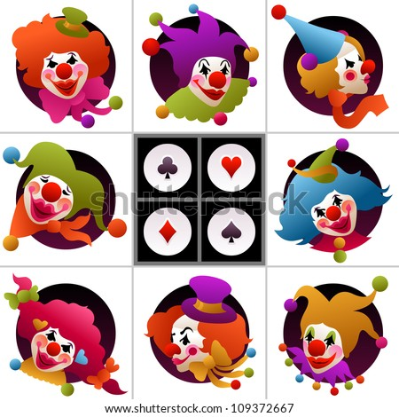 set of eight clown portraits wearing funny hats and accessories