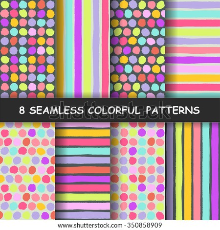 set of eight colorful seamless
