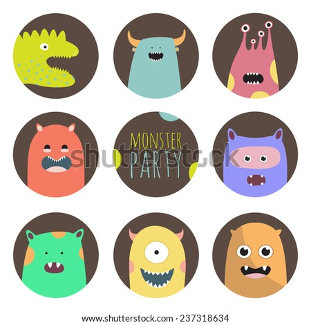 set of eight crazy monsters