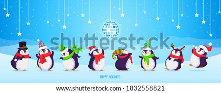 Set of eight cute dancing Christmas penguins on a blue background with disco ball, snowflakes, stars and mountains. Vector cartoon hand drawn illustration. Merry Christmas greetings.