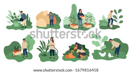 Set of eight different farming activities for a farmer and his wife tending to the crops and animals, vector illustration