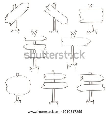 Set of eight different hand drawn wooden signboards. Vector illustration. #1010617255