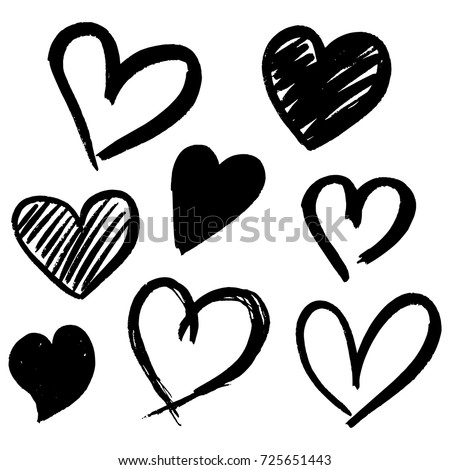 Set of eight hand drawn heart. Handdrawn rough marker hearts isolated on white background. Vector illustration for your graphic design