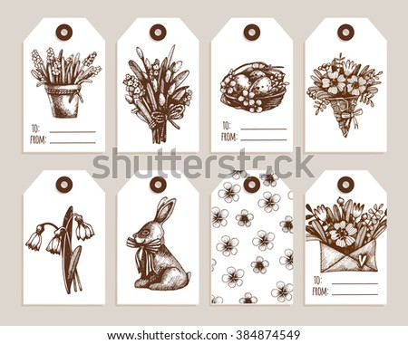 Cute easter gift tag collection download free vector art stock set of eight hand drawn holiday label in vintage style for easter holidays collection of negle Choice Image