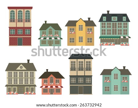 set of eight houses vector