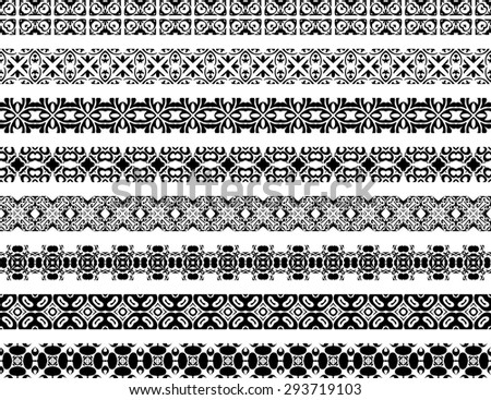 Set of eight illustrated decorative borders made of Portuguese tiles in black and white #293719103