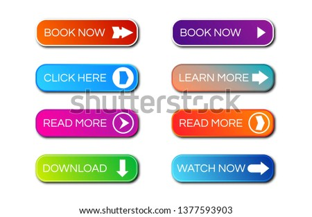 Set of eight modern gradient buttons with shadows. Read more Buttons. Vector illustration #1377593903