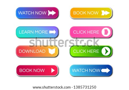 Set of eight modern gradient buttons with shadows. Read more Buttons. Vector illustration