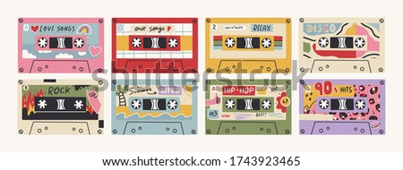 Set of eight Retro Vintage tape Cassettes. Various audio tapes. Different Mixtapes. Love songs, Relax, Rock, Nineties hits etc. Hand drawn colored Vector illustrations. Every cassette is isolated