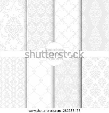 set of eight seamless damask