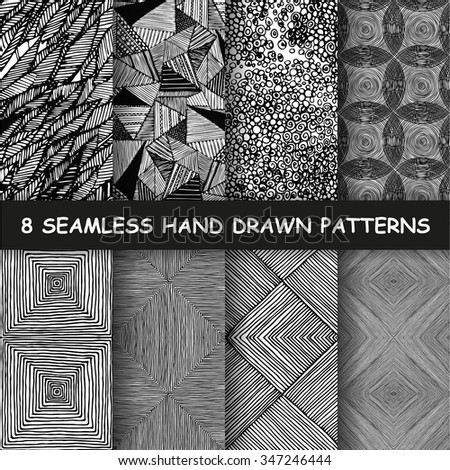 stock-vector-set-of-eight-seamless-hand-drawn-graphic-patterns-made-in-vector