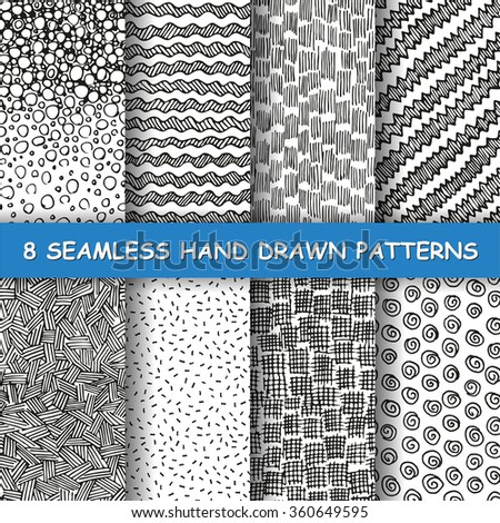 Set of eight seamless hand drawn patterns. Graphic textures. Hand made background. Made in vector