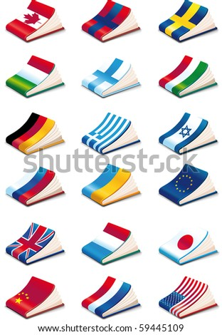 set of eighteen International Language Book Icons