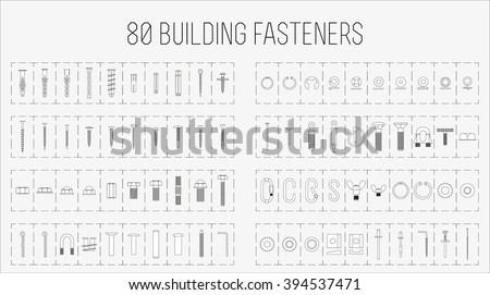 Set of eighty construction fasteners / Set of screws, bolts, anchors, fasteners etc.