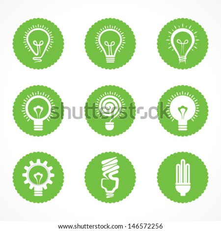 Set of electric bulb symbols and icons stock vector