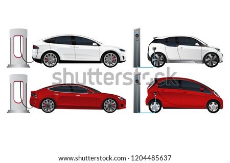 Set of electric cars (new energy vehicles, NEV) isolated on white background. Vector illustration EPS 10
