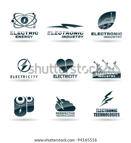 Set of electric energy icons. Electricity.