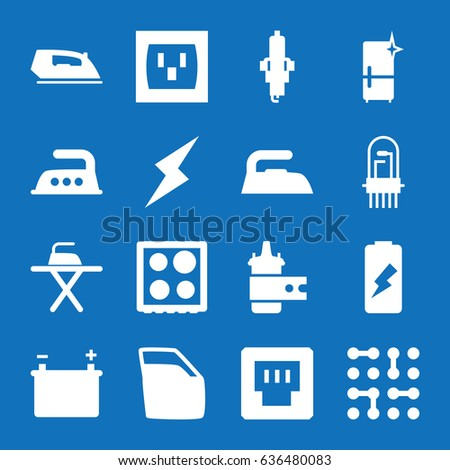 set of 16 electric filled icons