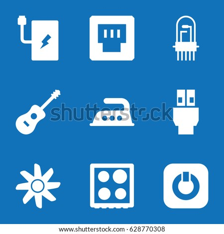 set of 9 electric filled icons