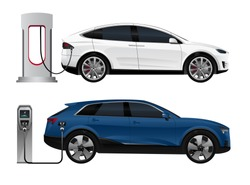 Set of electric SUV with charging stations. Vector illustration EPS 10