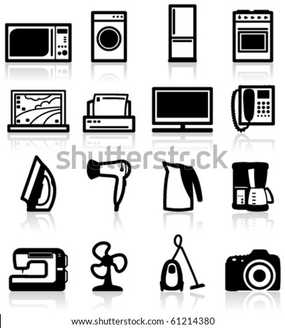 Set of electrical appliances, minimalistic icons