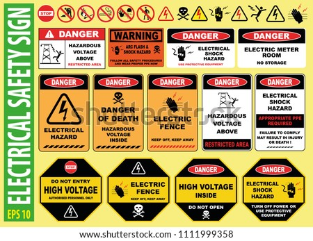 SET OF ELECTRICAL SAFETY SIGN - (high voltage, electric fence, do not touch, keep away, hazardous, restricted area, keep out, live wires, do not enter, shock burn)