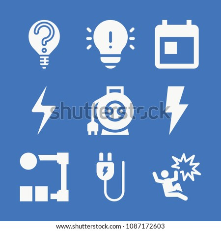 set of 9 electricity filled