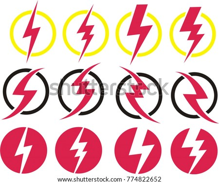 set of electricity sign and electricity energy icons
