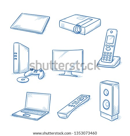 Set of electronic devices as tablet, laptop, television screen, loudspeaker, telephone, beamer, video game console and remote control. Hand drawn line art cartoon vector illustration.