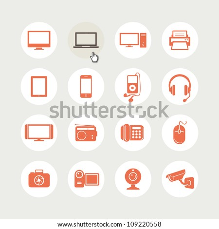 set of electronic devices icons