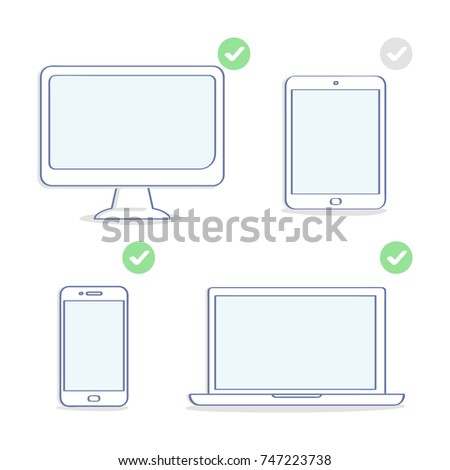 Set of electronic devices icons: computer display, laptop, tablet, smartphone. Different resolutions, screen sizes. Flat outline UI set element, premium quality illustration design for website or app.