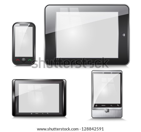 set of electronic devices, tablet and mobile phone, on a white background. Vector