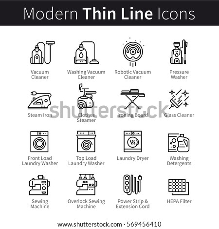Set of electronic home household appliances, devices and technology. Housework, cleaning, vacuuming & laundry washing machines. Thin black line art icons. Linear style illustrations isolated on white