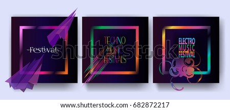 Set of Electronic music fest Hard Summer, Dance Event, Pop, Modern Art festival posters. Night Club party invitation design. Abstract gradient waves music dynamic geometric neon lights frame Vector