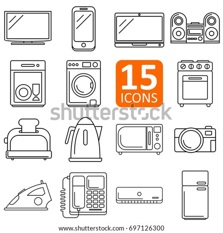 set of electronics icon vector