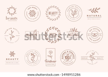 Set of elegant badges and stickers for beauty, natural and organic products, cosmetics, spa and wellness. Vector illustrations for graphic and web design, marketing material, product promotions.