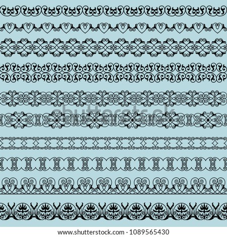 set of elegant black borders on the blue background #1089565430