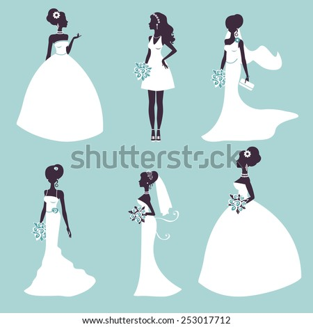 set of elegant brides in