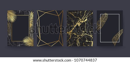 Set of elegant brochure, card, background, cover. Black and golden marble texture. Geometric frame. Palm, exotic leaves.  #1070744837