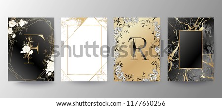 Set of elegant brochure, card, background, cover, wedding invitation. Black and golden marble texture. Geometric frame. Hand drawn fllowers. Floral arrangements.